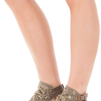 Taupe Canvas Sandal with Studded Embellished Detail