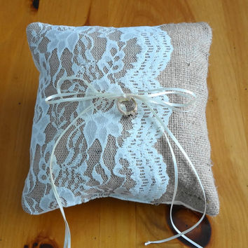 Ring Bearer Burlap and Lace Pillow