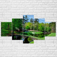 Augusta Masters Golf Golfing Course Hole Water 5 Pcs Pieces Panel Wall Art