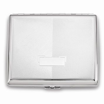Nickel-plated Diagonal Lines w/eng box Cigarette Case - Engravable Gift Item