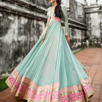 D4620 Amazing Turquoise Anarkali Dress with Super Cute Embroidery For Ladies 2013 by Threads and Motifs Anarkali