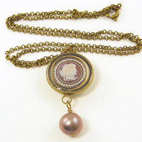 Cameo Necklace - Burgundy Mocha Pearl Resin Pendant Brass Chain Jewelry