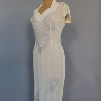Vintage 70s does 1930s1940s Ivory Glitter Art Deco Dress Old Hollywood Noir Wedding Gown Long Prom Flapper Gatsby Dress 70s Disco Dress