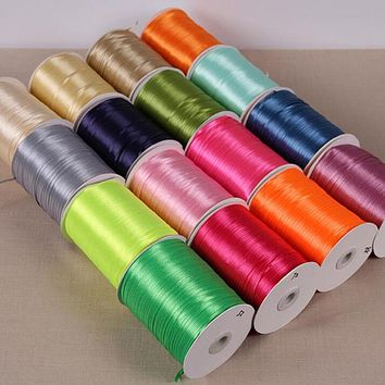100 Yards 3 mm Width Handmade DIY Material Silk Satin Ribbon For Arts Crafts Sewing Gift Wrap Christmas Wedding Party Decoration
