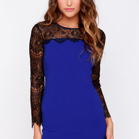 Aryn K Celebutante Black and Cobalt Blue Lace Dress