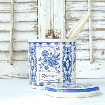 On Sale Vintage Blue Delfts Sugar Canister with Scoop Made in Holland Farmhouse Rustic Country Cottage Decor