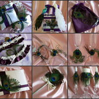 Peacock Feather Wedding Accessories  Basket Pillow by All4Brides