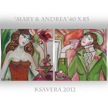 "Portrait Painting of two Woman Russian Impressionist art Cubist KSAVERA ""Mary&Andrea"" 16x34 Original Deco Nouveau Lady Girls Room green red"
