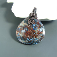 Blue brown agate pendant, copper pendant, galaxy stone necklace, Blue Mexican Crazy Agate handmade jewelry