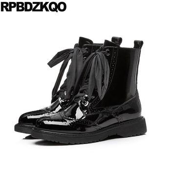 10 Big Size 2017 Shoes Army Combat Ankle Round Toe Black Platform Patent Leather Brand Women Winter Boots Genuine Flat Brogue