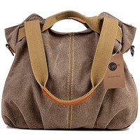 Women's Casual Handbag Vintage Canvas Daily Purse Top Handle Shoulder Tote Shopper