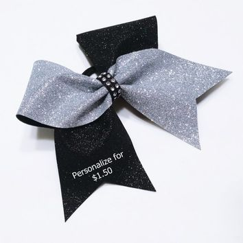 Customized cheer bows, Cheer bows, Silver glitter cheer bow, Black glitter Cheer bow, cheerleader bow,cheer bow, softball bow, large hairbow