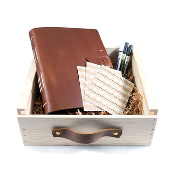 Leather Family Photo Album Gift Set