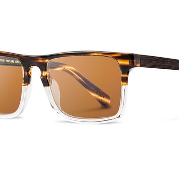 Shwood - Govy 2 Fifty Fifty, Whiskey Soda Sunglasses, Brown Polarized Lenses, Ebony Inlay