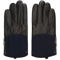 Surface To Air Navy And Black Leather-trimmed Allen Gloves