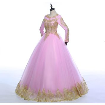 Pink with Golden Lace Full Sleeves O-neck Wedding Dresses Floor Length  Bride Ball Gowns