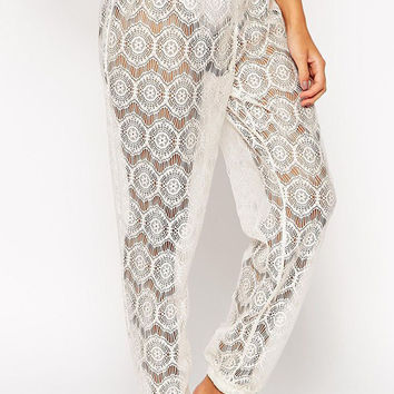 White Lace Beach Pants