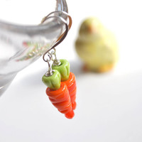 Easter Carrot Earrings - Lampwork Glass Earrings
