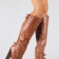 Bamboo Magnet-15 Buckle Round Toe Knee High Boot
