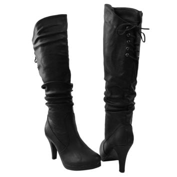 Womens Knee High Boots Ruched Sexy Leather Lace Up Dress Shoes Black SZ