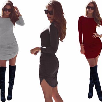Trendy Slim Long Sleeve Short Mini Casual Dress