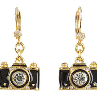 Betsey Johnson Royal Engagement Camera Stud Earrings Black/Gold - Zappos.com Free Shipping BOTH Ways