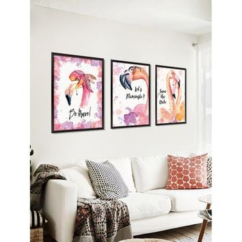3D Flamingo Print Fake Frame Wall Stickers Painting