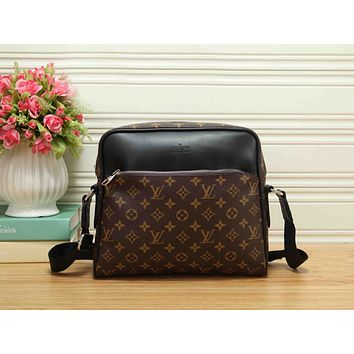 LV Fashion Women Shopping Monogram Leather Zipper Shoulder Bag Crossbody Satchel Coffee LV Print I-RF-PJ