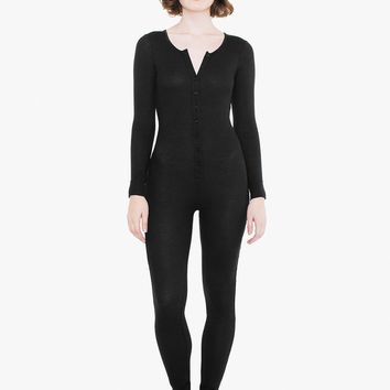Thermal Henley Long Sleeve Catsuit | American Apparel