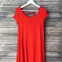 Sawyer Lattice Back Tee Dress (Red Orange)