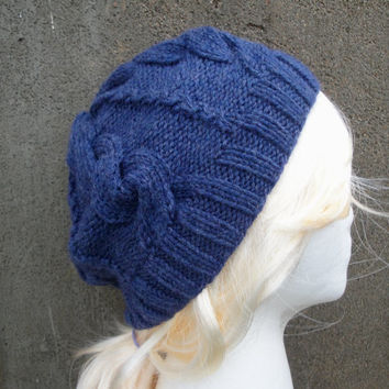 Blue Beret Hat, Cabled Hat, Hand Knit, Denim Blue, Teen Girls & Women