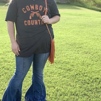 Oklahoma State Cowboy Country V-Neck Tee l Solid Dark Grey Triblend