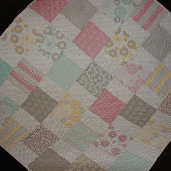 Modern Baby Girl or Toddler Quilt in Gray Yellow Pink and Aqua Riley Blake's Willow