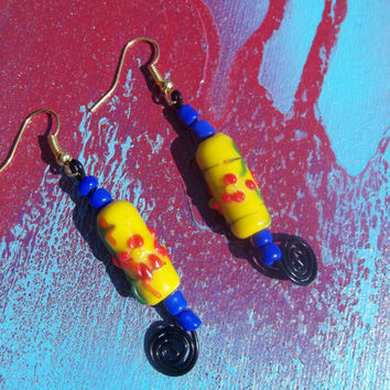 Vibrant Electric Sprial Yellow Lampwork Glass Beaded Wire Earrings