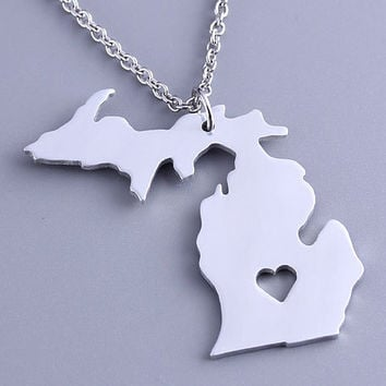 I heart Michigan Necklace - Michigan Pendant - State Charm - Map necklace - Map Jewelry