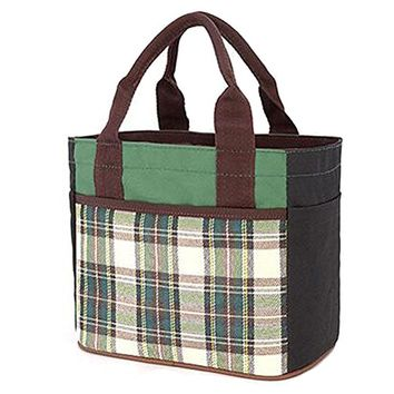 Muitifunction Canvas Bento Lunch Bag for Picnic Travel Tote Lunch Bag with Rope Belt Stylish Green Stripe