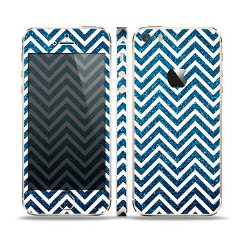 The White & Blue Glitter Print Sharp Chevron Skin Set for the Apple iPhone 5s