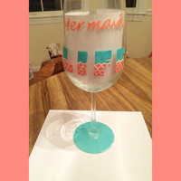 Mermaid Life wine glass