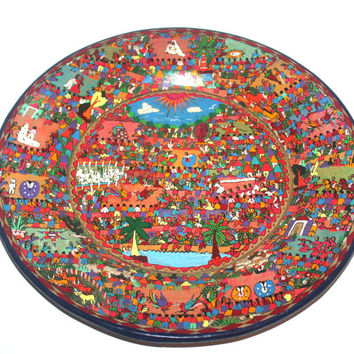 Huge 16'' Vintage Painted Mexican Story Plate, Pottery, Tlaquepaque, Large Serving Dish, Round Plate Bowl, Antique Alchemy