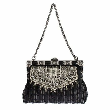 Dolce & Gabbana Crystal Embellished Black VANDA Clutch Bag