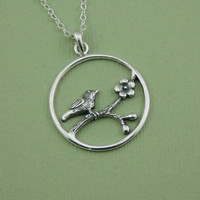 Songbird Necklace - cherry blossom bird jewelry - sterling silver bird pendant - christmas gift