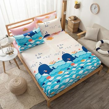 1pcs Cartoon Animal Print Bedding Bed Sheet Fitted Sheets Mattress Cover Bedspreads With Elastic Band 100% Cotton Children Sheet
