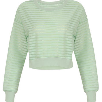Stripe Cropped Top in Green
