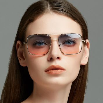 Cubojue Vintage Gold Sunglasses Gradient Women Men Transparent Sun Glasses for Woman Oversized Flat Top Lens Punk 80s 90s Hinge