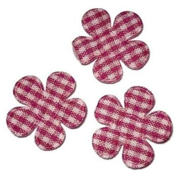 "Pink gingham flower 7/8"" padded appliqué"
