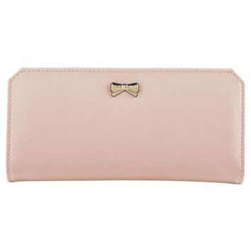 "Zodaca Light Pink Women Fashion PU Leather Wallet Button Bowknot Clutch Purse Lady Long Handbag Bag 19"" x 9"" x 2"" - Walmart.com"