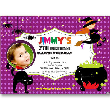 Halloween Spooky Polka Dot Kids Birthday Invitation Party Design