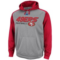 NFL Mens San Francisco 49ers Gridiron IV Ath Gray Marled/Bright Cardinl Long Sleeve Hooded Fleece Pullover