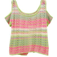 Colorful Gradient Stripes Pullovers with Off-The-Shoulder