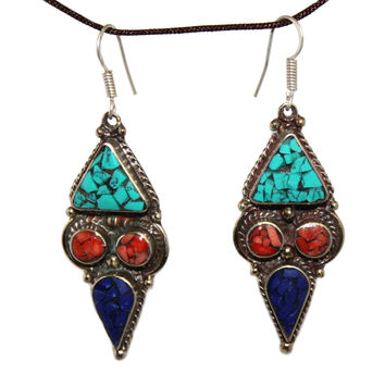 turquoise coral Lapis Earring